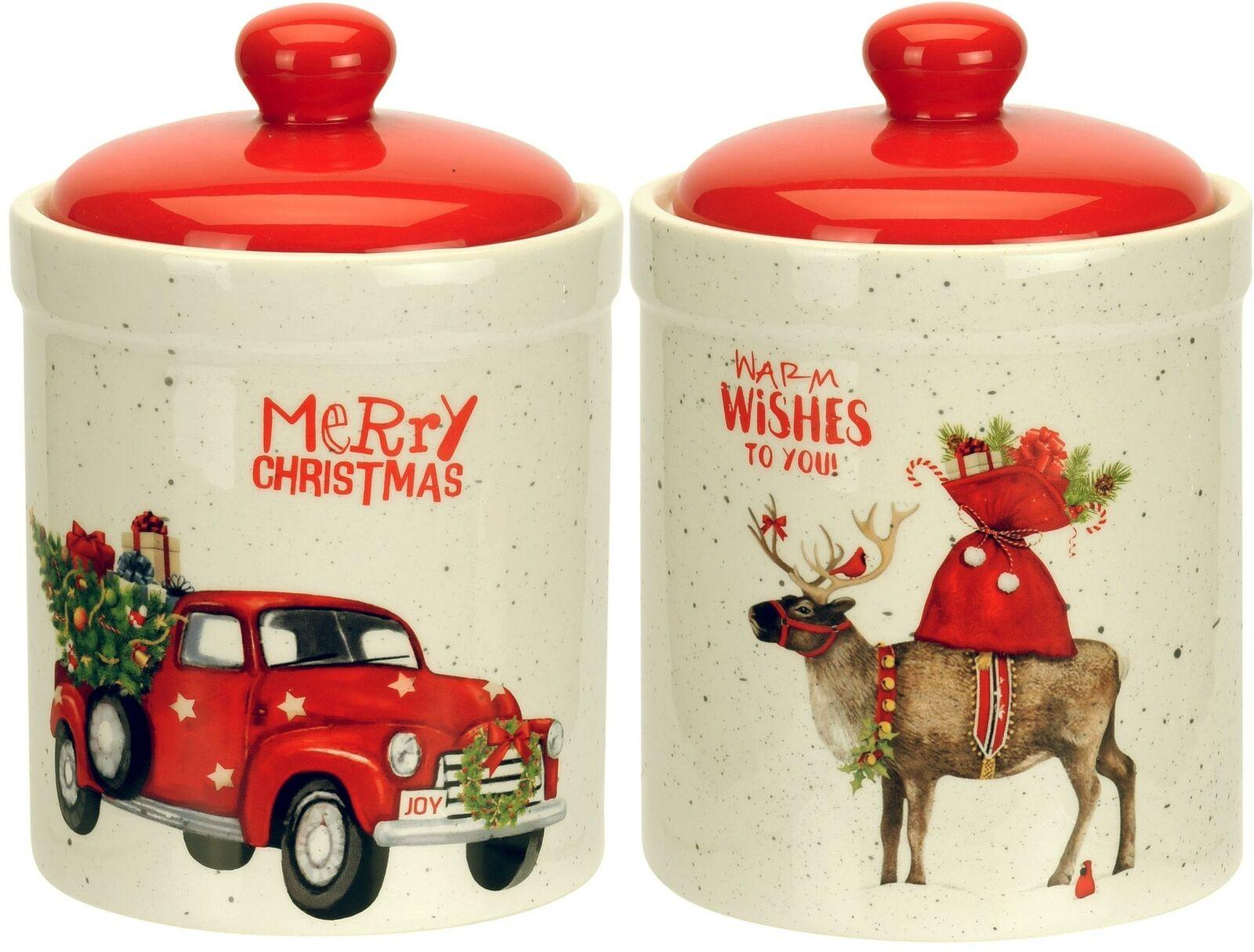 20cm H 9cm Keramik Clayre /& Eef Keksdose Weihnachten MERRY X-MAS weiß rot D