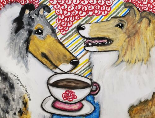 Rough Collie Collectible 11 x 14 Art Print Dog Drinking Coffee by Artist KSams