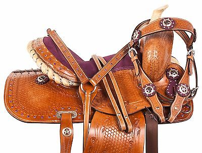 NEW COMFY PURPLE LEATHER WESTERN YOUTH PONY KIDS TRAIL TACK SET 10 12 13