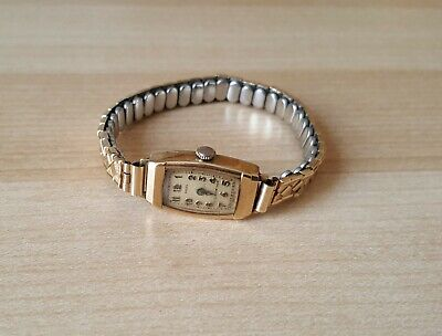 Ladies Vintage 9ct Gold Cased Manual Winding Rolex Wrist Watch Sold For Repair