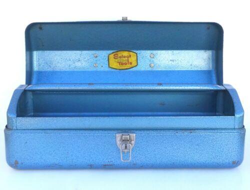 Very Rare! Vintage Indestro Select Steel Blue Tool Box w/ Tray + Original Label!