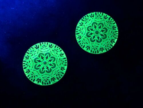 2 ANTIQUE URANIUM GLASS BUTTONS -LARGE! -GLOW UNDER BLACK LIGHT -GOLD GILDING