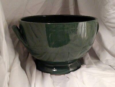 HTF Mamma Ro Italy Pottery Terra Cotta Dark Green Large Serving Bowl w Handles