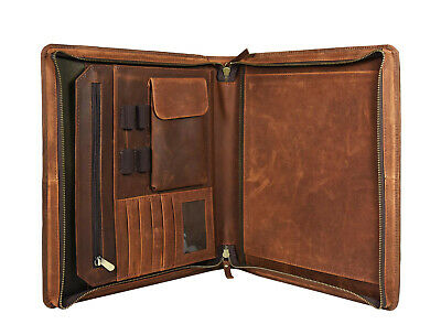 Vintage Leather Portfolio Executive Organizer Folder A4 File Notepad Padfolio