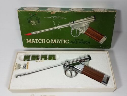 Vtg Match-O-Matic Pistol Shaped Cigarette Lighter Butane Gas Match Original Box