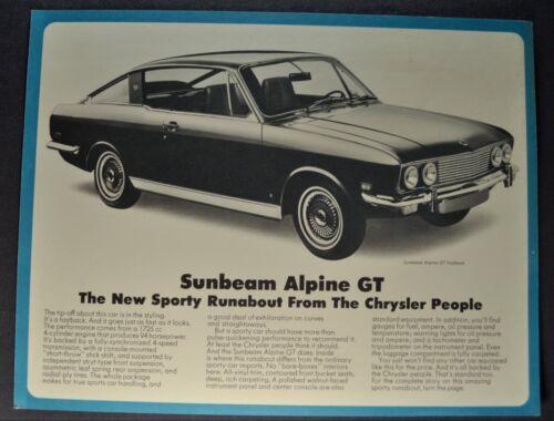 1968-1969 Sunbeam Alpine GT Sales Brochure Sheet Excellent Original