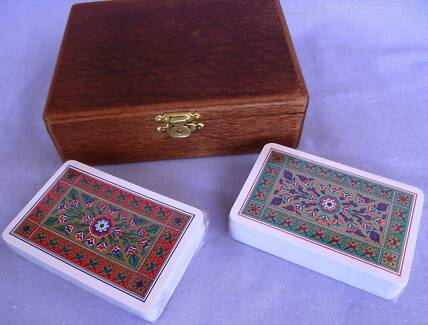PLAYING CARDS IN SILKY OAK BOX - BRIDGE BACCARAT CANASTA WHIST Middle Ridge Toowoomba City Preview