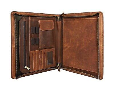 Zippered Leather Portfolio - Buffalo Leather Portfolio A4 Folder Padfolio Executive Organizer File Zippered