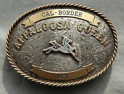 Vtg Cowgirl Horse Sterling Silver Appaloosa Queen Handmade Western Belt Buckle