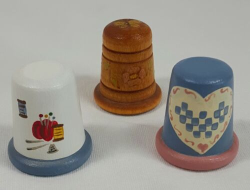 Three Hand Painted Wooden Thimbles Signed
