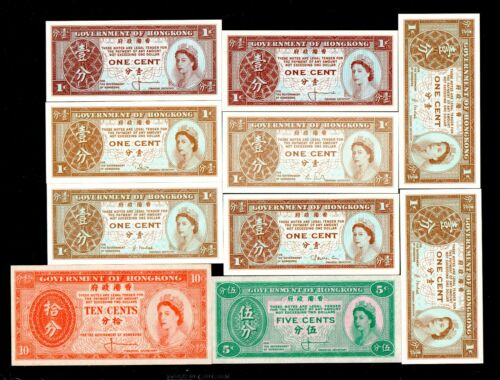 10pcs China Hong Kong 1945 1cent-10cent  Paper Money GEM UNC #495(有五个不同签名)