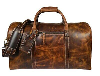 20 In Leather Duffle Bag Travel Overnight Luggage Handbag Sports Gym Duffel Bags - $109.00