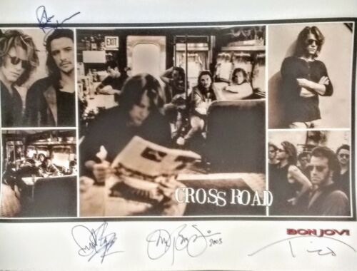 """Original Hand Signed Bon Jovi  """"Cross Road"""" Poster-Signed by Entire Band w/COA"""