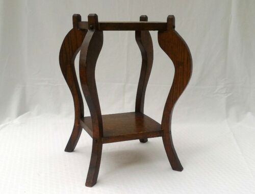"""ORIGINAL ANTQIUE SOLID OAK WOOD 2 TIER SMALL 16"""" PLANT STAND / TABLE"""