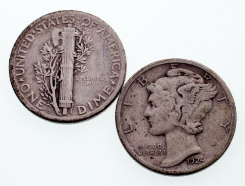Lot of 2 Mercury Dimes (1924-D + S) in Very Fine Condition, Natural Color