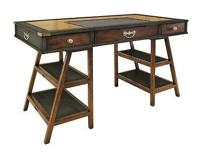 Navigators Office Desk Gunmetal Grey 56 Wooden Nautical Campaign Furniture New