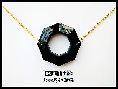 Collar Geometrico Dorado y Negro Edicion Limitada Complemento Minimal Fiesta