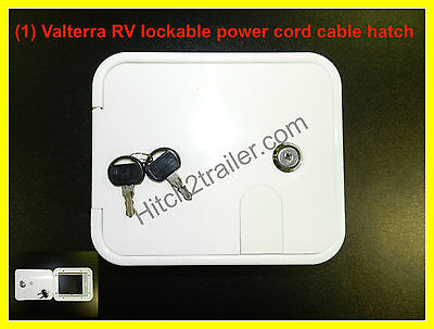 Electric Cable Hatch - RV Valterra White Electric Power Cord Cable Hatch Compartment Lockable w/Keys