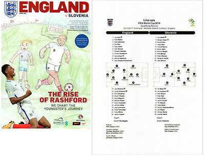 England v Slovenia 5/10/2017 Programme plus colour copy teamsheet