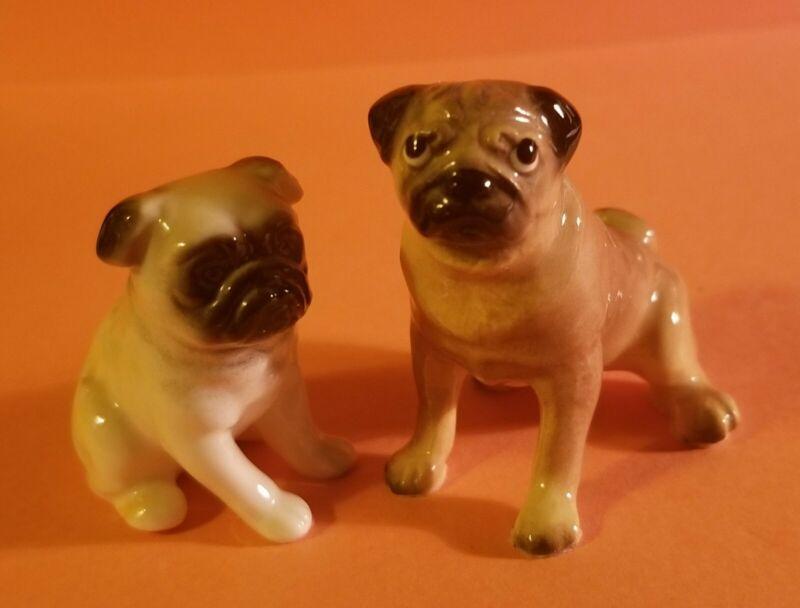 Vintage a Pair of PUG BOXER DOGS Porcelain Figurines