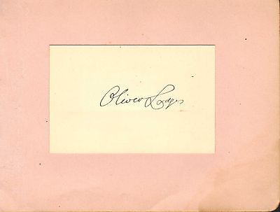 """1930s autograph of """" oliver lodges """" british physicist -  involved in radio"""