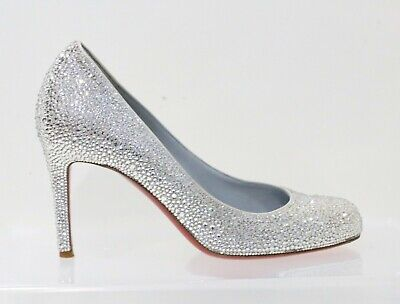 Christian Louboutin Simple 85 Wedding Shoes White Swarovski EU 36 US 6 - 6.5