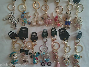 Wholesale joblot of 12 keyrings chain crystal bling bag purse charm assorted