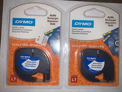 2 X New Dymo Letratag 12 In X 13 Ft. White Plastic Refill Cartridges 91331