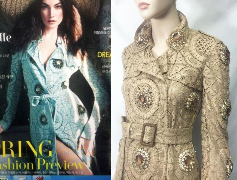 $6,500 Burberry Prorsum 2 4 36 Jeweled Honey Lace Trench Coat Jacket Women Gift