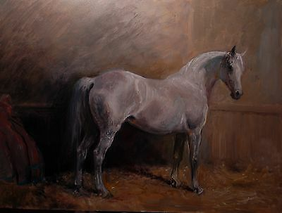 ORIGINAL OIL PAINTING of  a HORSE in a STABLE