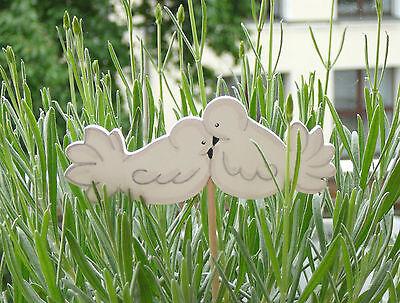 Land-Art - Blumenstecker Tauben Turteltauben 10 x 4cm handbemalt ♥ Hochzeit (Land Hochzeit Dekorationen)