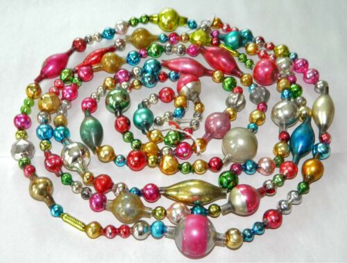 8 FEET 100% Vintage Mercury Glass Bead Christmas Garland Beads !!