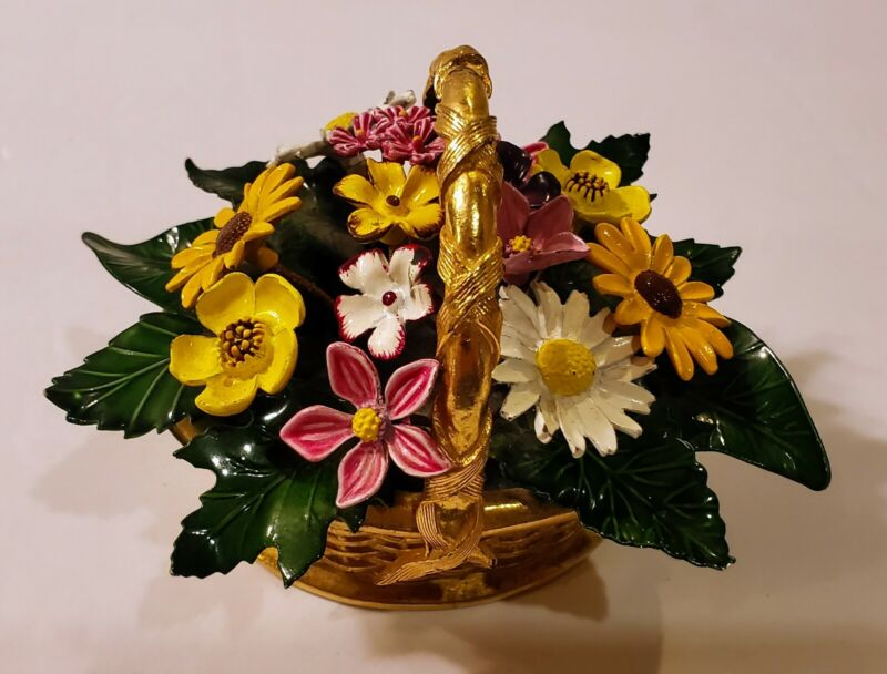 Vtg Italian Tole Toleware Floral Goldtone Metal Basket W/ Hand Painted Flowers