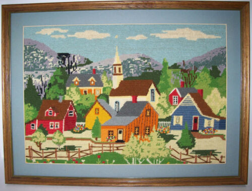 vintage Finished Crewel Embroidery framed, TOWN VILLAGE COUNTRY SCENE