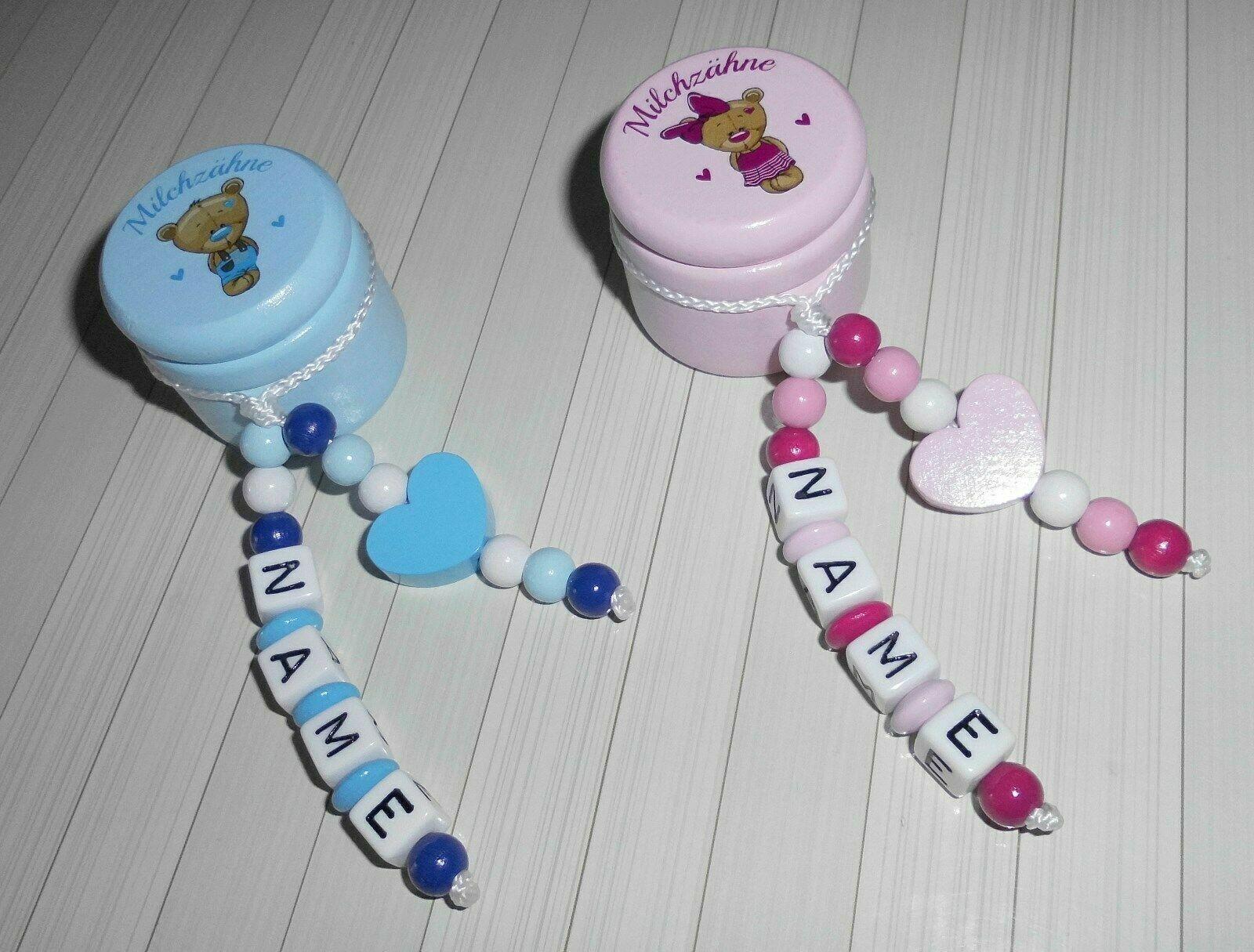 Milchzahndose mit Namensanhänger Holz Milchzähne Zahndose Junge/Mädchen