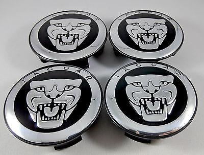 Set of 4x Center Wheel Hub Caps 59MM Black/Chrome For Jaguar S-type X-Type XJR ()