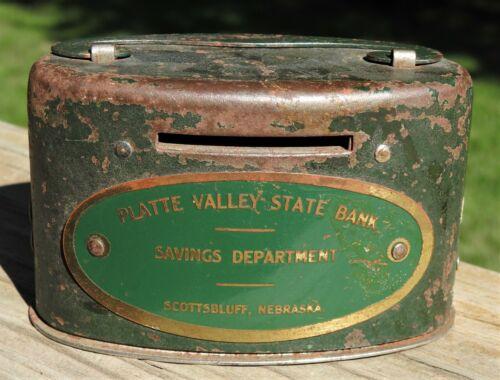 Old Advertising Coin Bank Scottsbluff Nebraska Platte Valley State Bank Savings