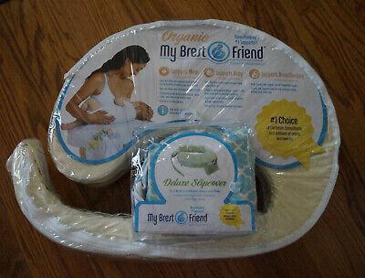 Organic My Brest Friend Nursing Pillow AND Deluxe Slipcover Flower Key Blue Brest Friend Deluxe Slipcover