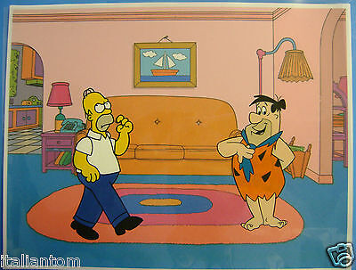 HAND PAINTED HANDPAINTED HOMER SIMPSON FRED FLINTSTONE ANIMATION CEL CELL ART