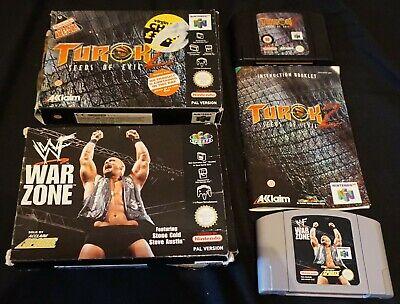WWF War Zone & Turok 2 N64 Nintendo 64 Game, Box & Manual (Instruction Booklet)