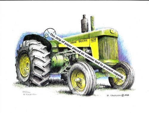 Vintage John Deere Model 830 Diesel Farm Tractor ~ Pen & Ink Color Print