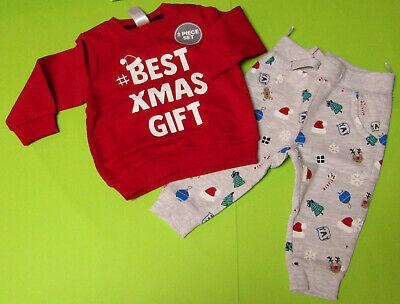 Baby Set Weihnachts-Outfit 2 teilig Sweatshirt und Hose rot grau NEU
