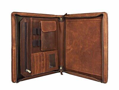 Zippered Leather Portfolio Executive Padfolio Organizer A4 Folder Business Case