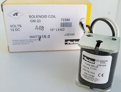 Parker Je Solenoid Coil Gm-23 12 Vdc 10 Lead 16.0 Watts Part 73184
