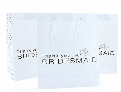 Lot Of 12 White Paper Thank You Bridesmaid Wedding Bridal Party Gift Bags