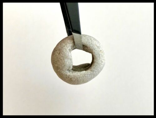 "Natural Holey Beach Rock Hag Stone lg 3/8""hole Wish Fairy Amulet Mystic Bead #11"