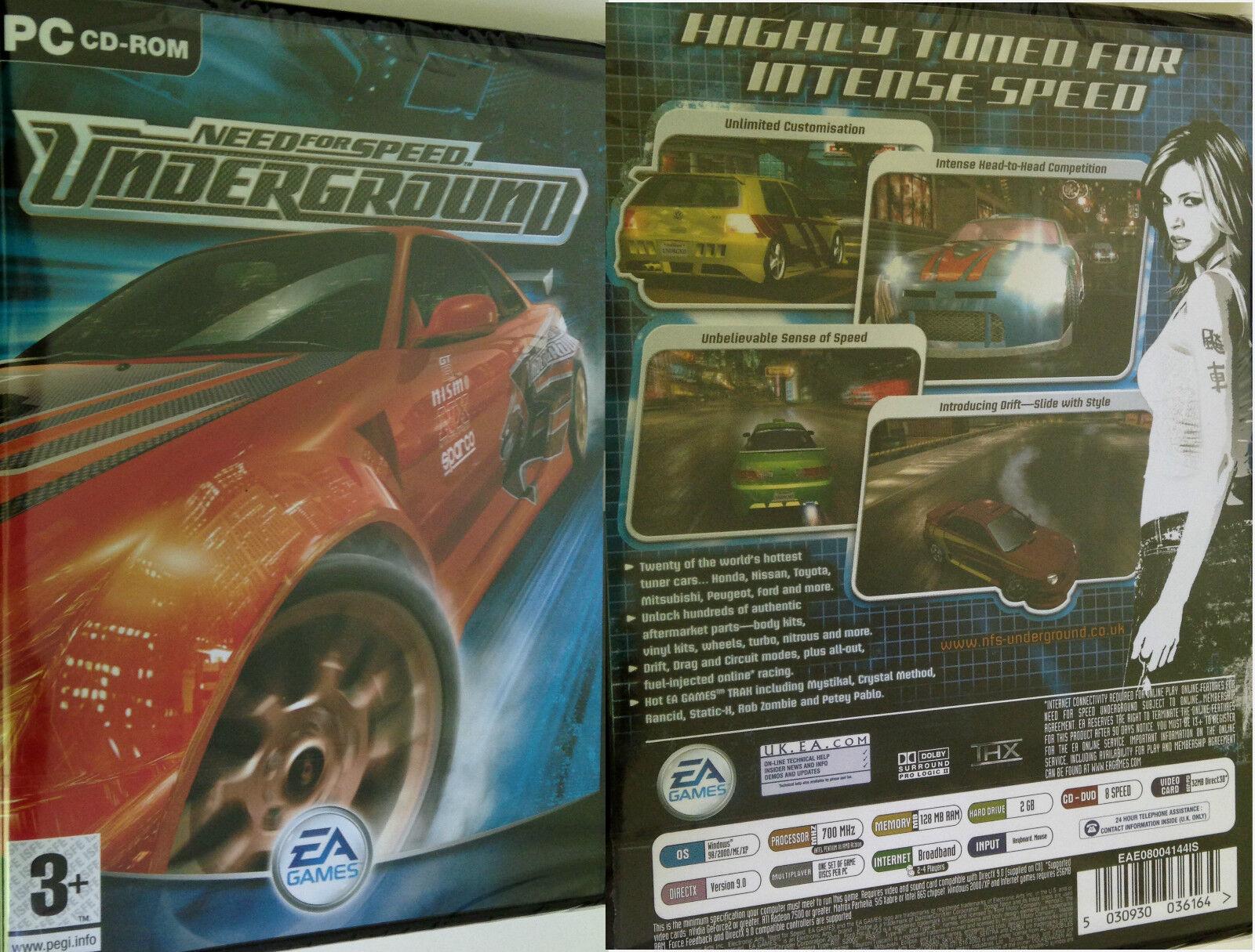 PC NFS Need for Speed Underground 1 Spiel Rennspiel Autospiel Autorennspiel OVP