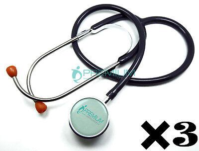 3 Pcs Clinical Grade Dual-head Stethoscope Lightweight Binaural Spring Gray