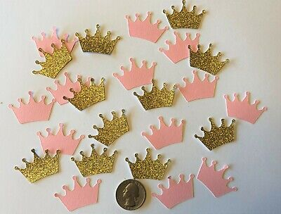 100 Princess Crowns Gold Glitter and Pink Crown Confetti Baby Shower Royal Party