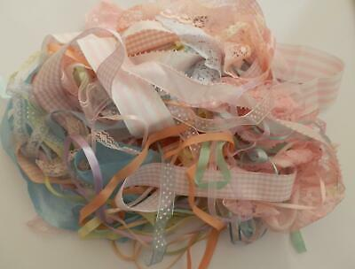 Mixed Large Pack of Beautiful Pastel Vintage Ribbon and Lace-40 Metres